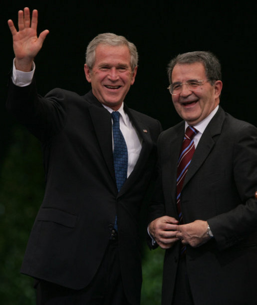 President George W. Bush and Prime Minister Romano Prodi of Italy embrace following their joint statement Saturday, June 9, 2007, at the Chigi Palace in Rome. White House photo by Chris Greenberg