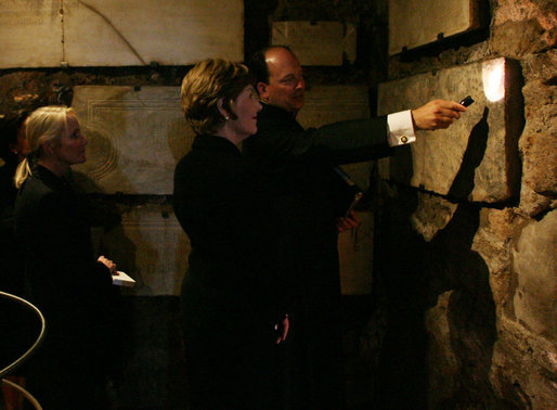 "Mrs. Laura Bush tours the ""Scavi"" during her visit to The Vatican Saturday, June 9, 2007, in Rome. White House photo by Shealah Craighead"