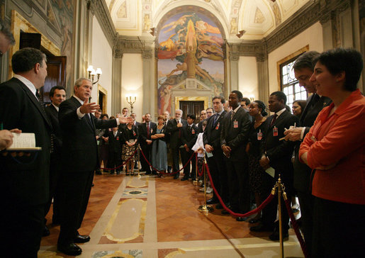 President George W. Bush greets members of the community of Sant'Egidio Saturday, June 9, 2007, at the American Embassy in Rome. Built on prayer, solidarity, friendship and peace, the community was created in Rome in 1968 by students wanting to take the Gospel more seriously. Today, it consists of more than 40,000 Christian laypeople in more than 60 countries worldwide. White House photo by Eric Draper