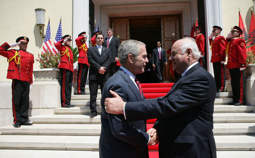 President George W. Bush and President Alfred Moisiu of Albania shake hands as President Bush departs the Palace of Brigades in Tirana, Albania Sunday, June 10, 2007. White House photo by Eric Draper