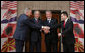 President George W. Bush stands with Prime Minister Ivo Sanader, left, of Croatia, Prime Minister Sali Berisha of Albania, and Prime Minister Nikola Gruevski of Macedonia, Sunday, June 10, 2007, following a lunch with the three leaders during a stop in Tirana, Albania. White House photo by Chris Greenberg