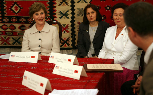 Mrs. Laura Bush participates in a roundtable discussion Sunday, June 10, 2007, at the Women's Wellness Center at Queen Geraldine Hospital Obstetrics and Gynecology in Tirana, Albania. White House photo by Shealah Craighead