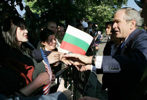 President George W. Bush greets well wishers Monday, June 11, 2007, during arrival ceremonies in Sofia's Nevsky Square. The Bulgaria stop was the last on a weeklong, six-country European visit by the President and Mrs. Bush. White House photo by Eric Draper
