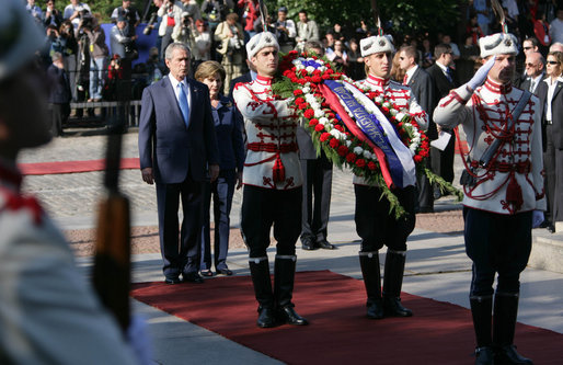President George W. Bush and Mrs. Laura Bush stand at the Monument of the Unknown Soldier in Sofia, Bulgaria Monday, June 11, 2007. The stop was one of several on the final day of their weeklong, six-country European visit. White House photo by Chris Greenberg