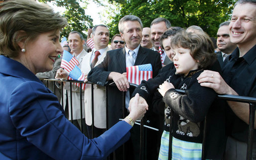 Mrs. Laura Bush is greeted by well-wishers Monday, June 11, 2007, during arrival ceremonies in Sofia's Nevsky Square. The Bulgaria stop was the last on a weeklong, six-country European visit by the President and Mrs. Bush. White House photo by Shealah Craighead