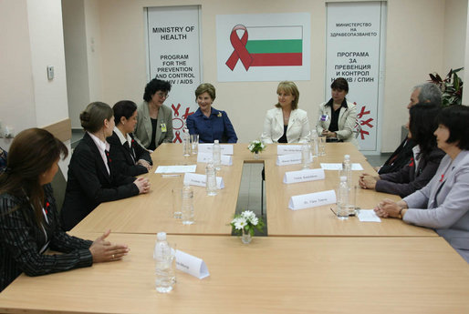 Mrs. Laura Bush participates in a roundtable discussion on HIV/Aids Monday, June 11, 2007, at the Ministry of Health in Sofia, Bulgaria. White House photo by Shealah Craighead