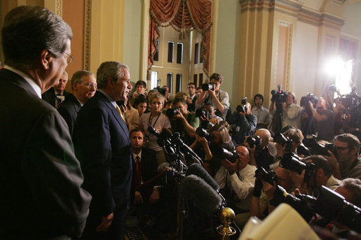 President George W. Bush, joined by Senate Minority leader Sen. Mitch McConnell and Sen. Trent Lott, foreground-left, addresses members of the media at the U.S. Capitol Tuesday, June 12, 2007, following his meeting with Senate Republican leaders and lunch with the Senate's Republican membership to ask their support for immigration reform legislation. White House photo by Joyce N. Boghosian