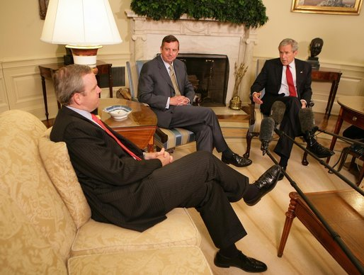 "President George W. Bush meets with White House Counselor Dan Bartlett, left, and Ed Gillespie in the Oval Office Wednesday, June 13, 2007. In announcing Mr. Gillespie as his new Counselor, President Bush said, ""When Dan told me that he was going to leave the White House so he could spend more time with his three young children and his wife, I never thought I'd be able to find somebody that could possibly do as good a job as he has done. I'm fortunate that Ed Gillespie has agreed to join the administration."" White House photo by Eric Draper"