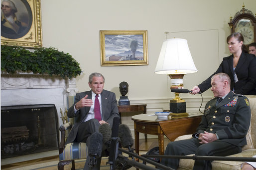 "President George W. Bush meets with Lt. Gen. Martin E. Dempsey, former Commanding General of Multi-National Security and Transition Command - Iraq, in the Oval Office Thursday, June 14, 2007. The President thanked the general for his leadership saying, ""It's an extraordinary country where people volunteer to go into combat zones, to protect the security of the United States of America. And we appreciate you, and thank you, and wish you all the best in your next assignment."" White House photo by Joyce N. Boghosian"