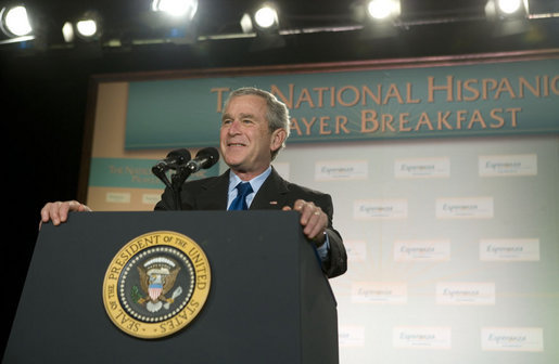 "President George W. Bush addresses the National Hispanic Prayer Breakfast Friday, June 15, 2007, in Washington, D.C. ""Many of you at this breakfast devote your lives to serving others. By doing so, you're answering a timeless call to love your neighbor as yourself,"" said President Bush. ""You really represent the true strength of America, and I thank you for being of service to our country."" White House photo by Joyce N. Boghosian"