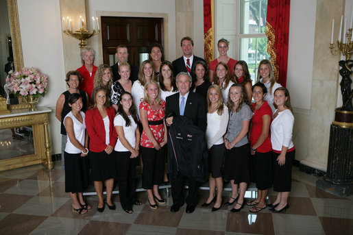 President George W. Bush stands with members of the University of Maryland Women's Field Hockey 2006 Championship Team Monday, June 18, 2007 at the White House, during a photo opportunity with the 2006 and 2007 NCAA Sports Champions. White House photo by Eric Draper
