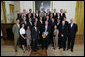 President George W. Bush stands with members of the University of California, Irvine Men's Volleyball 2007 Championship Team Monday, June 18, 2007 at the White House, during a photo opportunity with the 2006 and 2007 NCAA Sports Champions. White House photo by Eric Draper