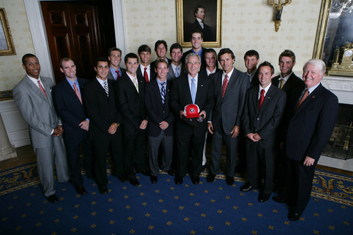President George W. Bush stands with members of the University of Georgia Men's Tennis 2007 Championship Team Monday, June 18, 2007 at the White House, during a photo opportunity with the 2006 and 2007 NCAA Sports Champions. White House photo by Eric Draper