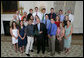President George W. Bush stands with members of the Dartmouth College Men and Women's Ski 2007 Championship Team Monday, June 18, 2007 at the White House, during a photo opportunity with the 2006 and 2007 NCAA Sports Champions. White House photo by Eric Draper