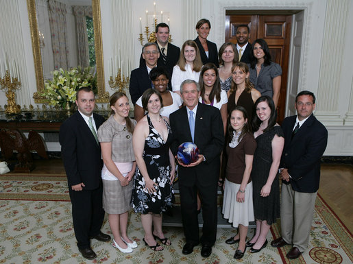 President George W. Bush stands with members of the Vanderbilt University Women's Bowling 2007 Championship Team Monday, June 18, 2007 at the White House, during a photo opportunity with the 2006 and 2007 NCAA Sports Champions. White House photo by Eric Draper