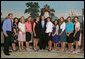 President George W. Bush stands with members of the Stanford University Women's Tennis 2006 Championship Team Monday, June 18, 2007 at the White House, during a photo opportunity with the 2006 and 2007 NCAA Sports Champions. White House photo by Joyce N. Boghosian