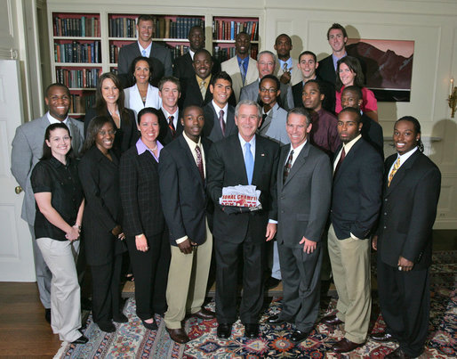 President George W. Bush stands with members of the Florida State University Outdoor Track & Field 2007 Championship Team Monday, June 18, 2007 at the White House, during a photo opportunity with the 2006 and 2007 NCAA Sports Champions. White House photo by Joyce N. Boghosian