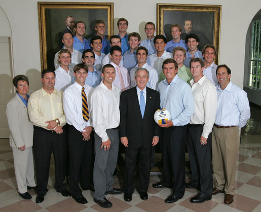 President George W. Bush stands with members of the University of California Berkeley Men's Water Polo 2006 Championship Team Monday, June 18, 2007 at the White House, during a photo opportunity with the 2006 and 2007 NCAA Sports Champions. White House photo by Joyce N. Boghosian