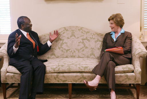 "Mrs. Laura Bush meets with Ibrahim A. Gambari, Under-Secretary-General and Special Advisor to the Secretary-General on Burma at the White House, Tuesday, June 19, 2007, the 62nd birthday of the pro-democracy activist and leader of the National League for Democracy in Burma, Aung San Suu Kyi who is held under house arrest by the Burmese military junta. Mrs. Bush and Mr. Gambari discussed the important work of the United Nations to achieve the release of all political prisoners and to bring reconciliation to the Burmese people. Mrs. Bush noted, ""We support Mr. Gambari's strategy to meet with leaders in the region, including China and India, to bring the full weight of the international community to bear in pursuit of these objectives."" White House photo by Shealah Craighead"
