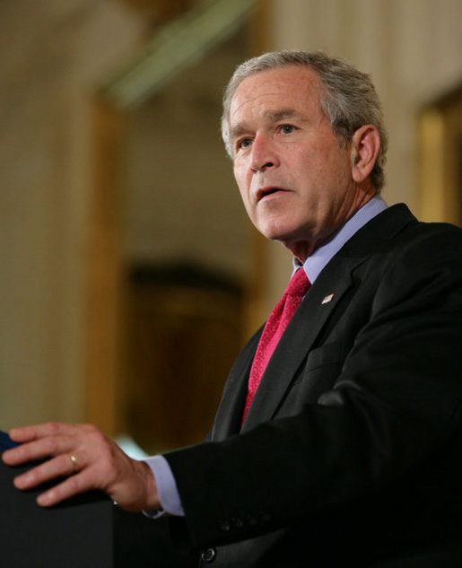 "President George W. Bush addresses his remarks on his veto of S.5, the ""Stem Cell Research Enhancement Act of 2007,"" in the East Room of the White House Wednesday, June 20, 2007. White House photo by Eric Draper"