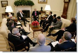 President George W. Bush speaks with Republican members of the House of Representatives in an Oval Office meeting Wednesday, June 20, 2007. White House photo by Eric Draper