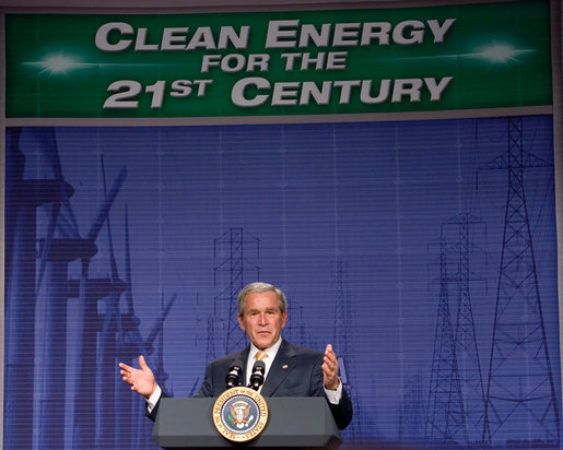 "President George W. Bush delivers his remarks on energy initiatives following his tour of the Browns Ferry Nuclear Plant in Athens, Ala., Thursday, June 21, 2007. Speaking about the energy needs of the nation President Bush said, ""Nuclear power is America's third leading source of electricity. It provides nearly 20 percent of our country's electricity. Nuclear power is clean. It's clean, domestic energy."" White House photo by Chris Greenberg"