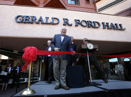 Vice President Dick Cheney participates in a ribbon-cutting ceremony Saturday, June 23, 2007, to mark the dedication of the newly renamed Gerald R. Ford Hall during the 26th annual AEI World Forum at the Park Hyatt Hotel in Beaver Creek, Colorado. The AEI World Forum, originally conceived by former President Gerald R. Ford, attracts political and economic leaders from around the world and is presented by the American Enterprise Institute for Public Policy Research and the Vail Valley Foundation. White House photo by David Bohrer
