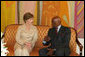 Mrs. Laura Bush meets with President Abdoulaye Wade of Senegal Tuesday, June 26, 2007, in Dakar, Senegal, during her first stop on a five-day trip to Africa. White House photo by Shealah Craighead