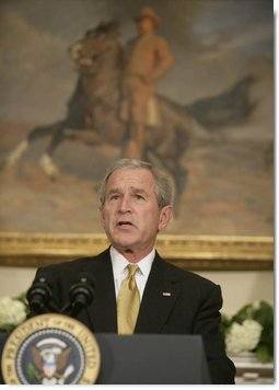 President George W. Bush delivers his remarks on health care initiatives Wednesday, June 27, 2007 in the Roosevelt Room of the White House, including legislation in Congress regarding the expansion of the State Children's Health Insurance Program. White House photo by Joyce N. Boghosian