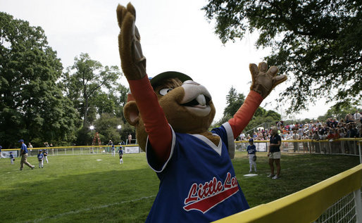 Dugout, the Little League mascot, celebrates the opening of the 2007 White House Tee Ball season Wednesday, June 27, 2007, during the opening game between the Luray, Virginia Red Wings and the Bobcats from Cumberland, Maryland. White House photo by Eric Draper