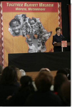 Mrs. Laura Bush addresses the Inter-Religious Campaign against Malaria, Wednesday, June 27, 2007, at the Maputo Seminary in Maputo, Mozambique. Mrs. Bush announced a grant of a three-year, nearly $2 million dollar grant to IRCMM, which was first established by 10 national faith leaders in Maputo. White House photo by Shealah Craighead
