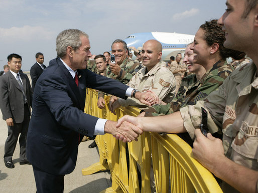 President George W. Bush greets military personnel Thursday, June 28, 2007, at the Rhode Island Air National Guard facility in Kingston, R.I., prior to leaving for Kennebunkport, Maine, where President Bush is scheduled to meet with Russian President Vladimir Putin July 1-2, 2007. White House photo by Eric Draper