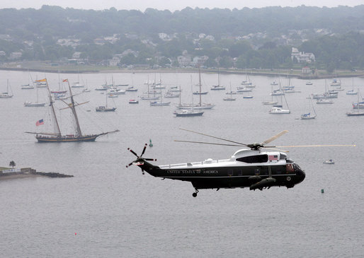 Marine One, carrying President George W. Bush, makes an aerial tour of Newport Harbor Thursday, June 28, 2007, prior to landing at the Naval War College in Newport, R.I. White House photo by Eric Draper