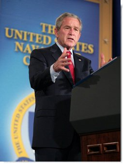 "President George W. Bush addresses his remarks on national security and the war in Iraq at the Naval War College in Newport, R.I., Thursday, June 28, 2007, saying ""With the help of our troops, the Iraqi security forces are growing in number, they are becoming more capable, and coming closer to the day when they can assume responsibility for defending their own country."" White House photo by Eric Draper"