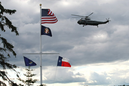 A United States Marine helicopter with Russian President Vladimir Putin aboard approaches Walker's Point in Kennebunkport, Maine, Sunday, July 1, 2007. White House photo by Eric Draper