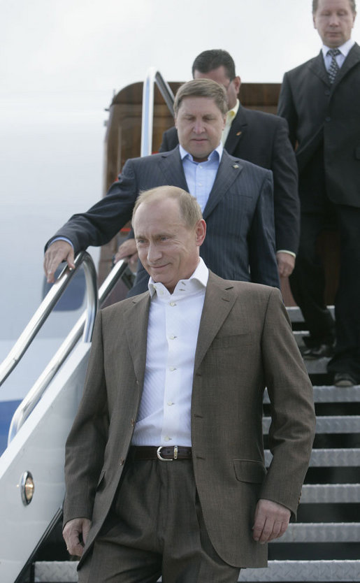 Russian President Vladimir Putin arrives Sunday, July 1, 2007, at Pease Air National Guard Base, in Portsmouth, N.H. The Russian leader is visiting President George W. Bush for meetings at Kennebunkport. White House photo by Joyce N. Boghosian