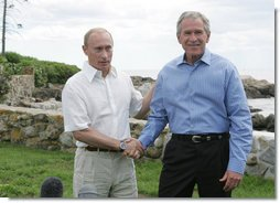 "President George W. Bush and President Vladimir Putin of Russia, shake hands at the end of their joint press availability Monday, July 2, 2007, at Walker's Point in Kennebunkport, Me. Said President Bush, ""We had a good, casual discussion on a variety of issues. We had a very long, strategic dialogue that I found to be important, necessary and productive.""  White House photo by Joyce N. Boghosian"