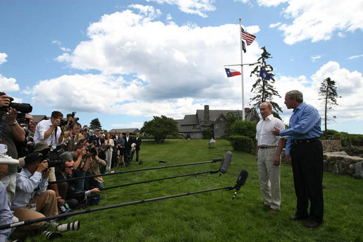 President George W. Bush talks to the members of the media during a press availability with Russia's President Vladimir Putin after their meeting Monday, July 2, 2007, in Kennebunkport, ME. White House photo by Eric Draper
