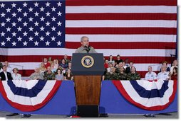 President George W. Bush addresses his remarks Wednesday, July 4, 2007, during a Fourth of July visit with members of the West Virginia Air National Guard 167th Airlift Wing and their family members in Martinsburg, W. Va. President Bush thanked all the operational units of the West Virginia National Guard for their service. White House photo by Chris Greenberg
