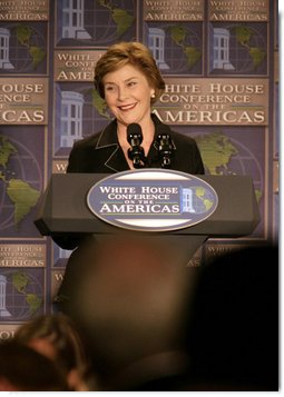Mrs. Laura Bush delivers remarks Monday, July 9, 2007, during A Conversation on the Americas in Arlington, Va. The President and Mrs. Bush hosted the conference to highlight the Administration's commitment to development in the Western Hemisphere and to bring together civil society leaders from across the Americas to build relationships and share best practices that will allow people to help their neighbors and fellow citizens. White House photo by Shealah Craighead