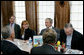 President George W. Bush meets with community leaders for a lunch meeting at Slyman's Restaurant in Cleveland, Ohio, Tuesday, July 10, 2007. White House photo by Chris Greenberg
