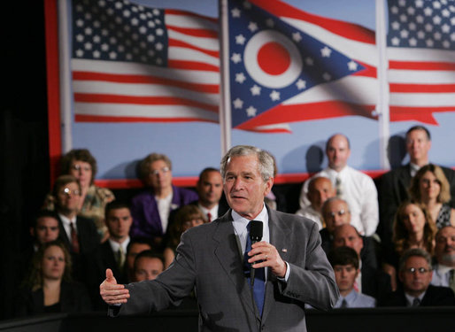 President George W. Bush addresses his remarks Tuesday, July 10, 2007, to the Greater Cleveland Partnership in Cleveland, Ohio, where he also took questions from the audience. White House photo by Chris Greenberg