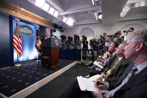 President George W. Bush speaks during a morning news conference Thursday, July 12, 2007, in the James S. Brady Briefing Room of the White House. The President spoke on the fourth phase of the Iraq conflict: Deploying reinforcements and launching new operations to help Iraqis bring security to their people. White House photo by Eric Draper