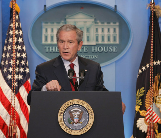 "President George W. Bush addresses a morning news conference Thursday, July 12, 2007, in the James S. Brady Briefing Room of the White House. Said the President, ""The real debate over Iraq is between those who think the fight is lost or not worth the cost, and those that believe the fight can be won and that, as difficult as the fight is, the cost of defeat would be far higher."" White House photo by Chris Greenberg"