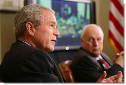 President George W. Bush speaks to members of the media at a meeting with members of his National Security team Friday, July 13, 2007, in the Roosevelt Room at the White House during a video teleconference with Iraq Provincial Recontsruction Team Leaders, Embedded Provincial Reconstruction Team Leaders and Brigade Combat Commanders.  White House photo by Eric Draper