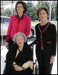 Mrs. Laura Bush welcomes former First Lady Lady Bird Johnson and her daughter, Lynda Johnson Robb, on their visit to the White House Oct. 19, 2005. President and Mrs. Bush Mourn the Passing of Lady Bird Johnson White House photo by Krisanne Johnson