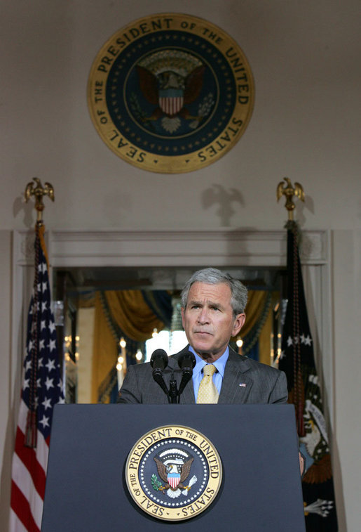"President George W. Bush delivers remarks on the Middle East Monday, July 16, 2007, in the Cross Hall. ""This year, we will provide the Palestinians with more than $190 million in American assistance -- including funds for humanitarian relief in Gaza,"" said the President. ""To build on this support, I recently authorized the Overseas Private Investment Corporation to join in a program that will help generate $228 million in lending to Palestinian businesses."" White House photo by Joyce N. Boghosian"