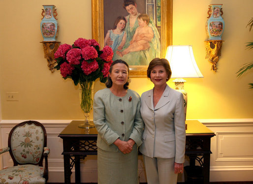 Mrs. Laura Bush hosts a tea for Mrs. Yoo Soon-taek, wife of U.N. Secretary General, Ban Ki-moon, Tuesday, July 17, 2007, in the White House residence. White House photo by Shealah Craighead