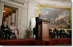 "President George W. Bush delivers remarks during the Congressional Gold Medal Ceremony honoring Dr. Norman Bourlag Tuesday, July 17 , 2007, at the U.S. Capitol. ""Many have highlighted Norman Borlaug's achievements in turning ordinary staples such as wheat and rice into miracles that brought hope to millions,"" said President Bush of Dr. Bourlag who has received the Nobel Peace Prize and the Presidential Medal of Freedom. White House photo by Chris Greenberg"