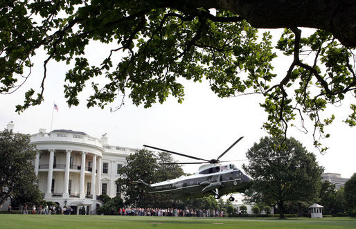 President George W. Bush departs the South Lawn via Marine One July 19, 2007. The President will speak about the budget during a visit to Nashville. White House photo by Joyce N. Boghosian